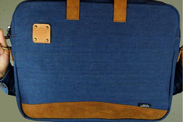 ''Chester'' Raw Denim Briefcase - 3