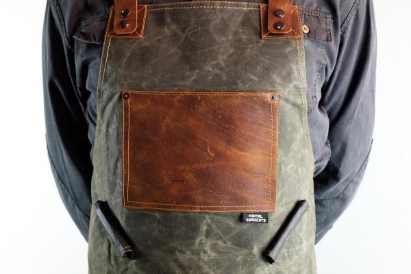 Waxed Canvas and Genuine Leather Chuck Apron - 1