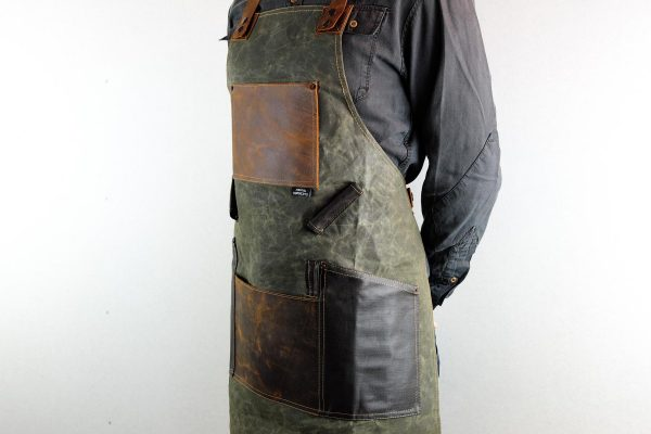 Waxed Canvas and Genuine Leather Chuck Apron - 5
