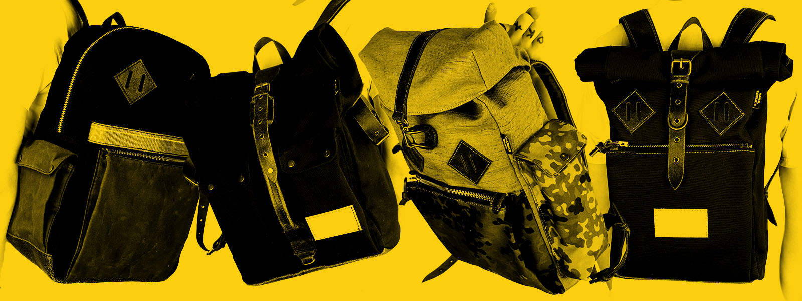 Handmade backpacks made of raw denim, canvas and linen in combination with natural untreated leather