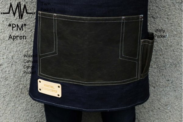 Half Apron PM Raw Denim and Waxed Canvas Apron - 2