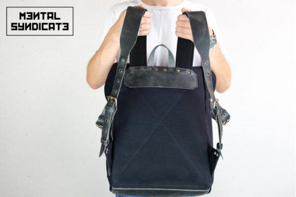 'Aviator'' Roll Top Backpack Black - 4