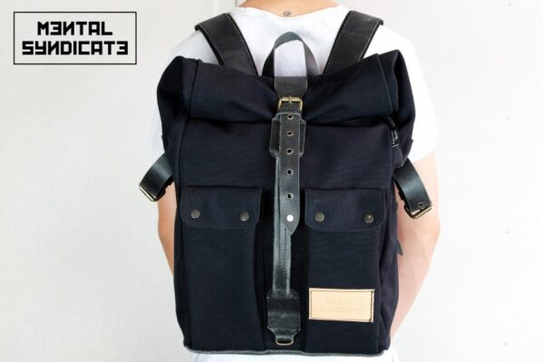 'Aviator'' Roll Top Backpack Black - 5