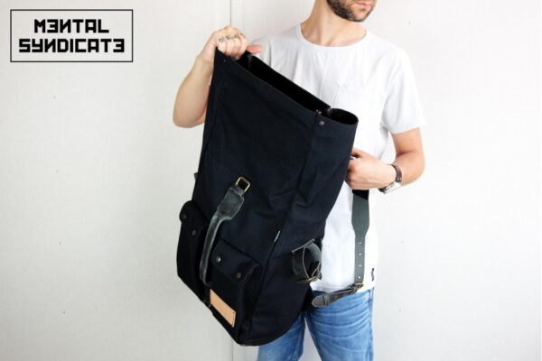 'Aviator'' Roll Top Backpack Black - 0