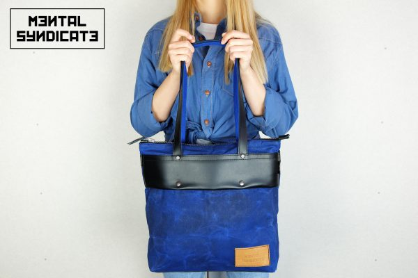 LEATHER TOTE BAG CORAL BLUE - 1
