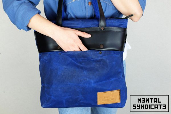 LEATHER TOTE BAG CORAL BLUE - 3