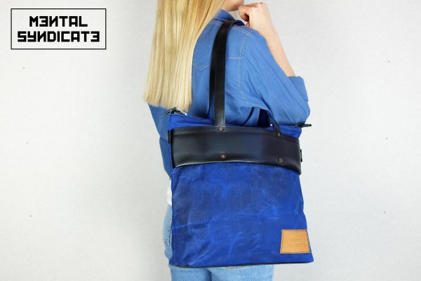 LEATHER TOTE BAG CORAL BLUE - 0