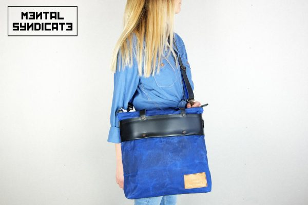 LEATHER TOTE BAG CORAL BLUE - 5