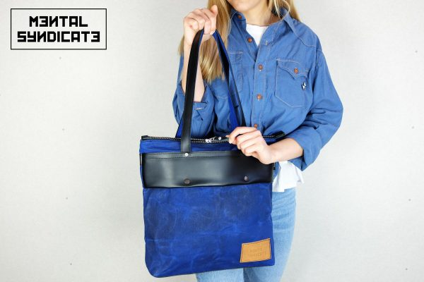 LEATHER TOTE BAG CORAL BLUE - 4