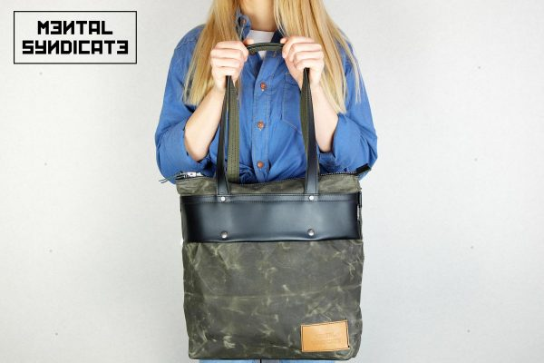 LEATHER TOTE BAG MILITARY GREEN - 1