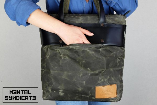LEATHER TOTE BAG MILITARY GREEN - 2