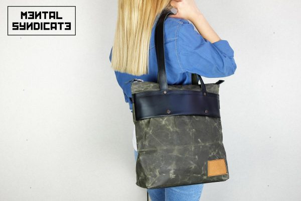 LEATHER TOTE BAG MILITARY GREEN - 0