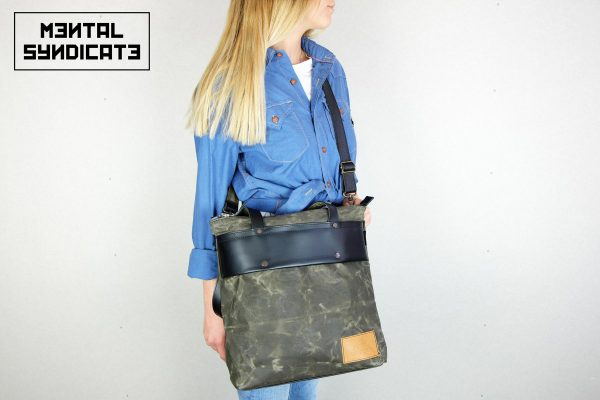LEATHER TOTE BAG MILITARY GREEN - 5