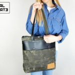 LEATHER TOTE BAG MILITARY GREEN - 4