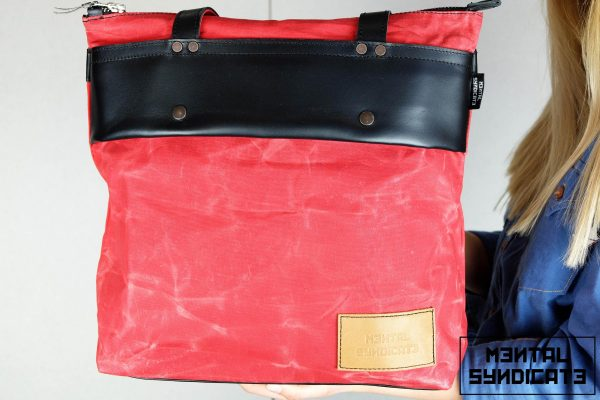 LEATHER TOTE BAG MARBLE RED - 2