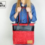 LEATHER TOTE BAG MARBLE RED - 1