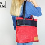 LEATHER TOTE BAG MARBLE RED - 0