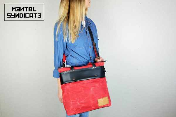LEATHER TOTE BAG MARBLE RED - 4