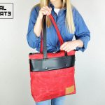 LEATHER TOTE BAG MARBLE RED - 5