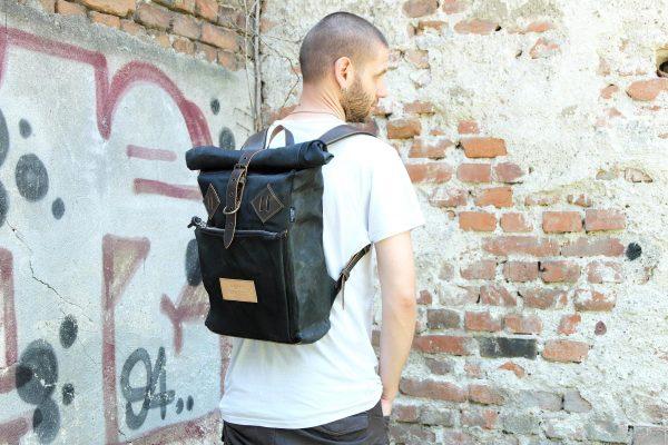Roll Top Backpack BLCK WAX - 0