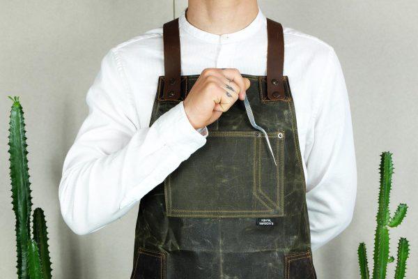Waxed Canvas & Genuine Leather ''Chuck'' Apron RG - 4