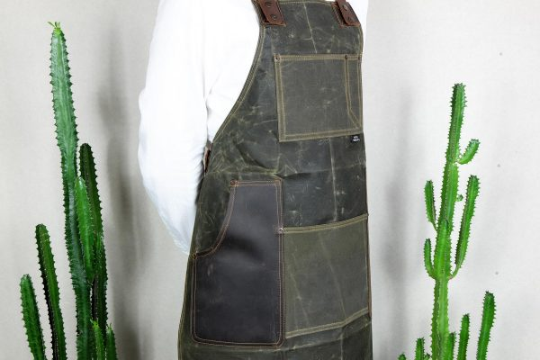 Waxed Canvas & Genuine Leather ''Chuck'' Apron RG - 5