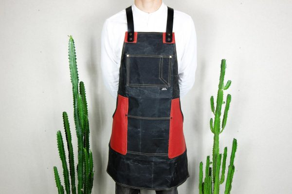 Waxed Canvas & Genuine Leather ''Chuck'' Apron RR - 4