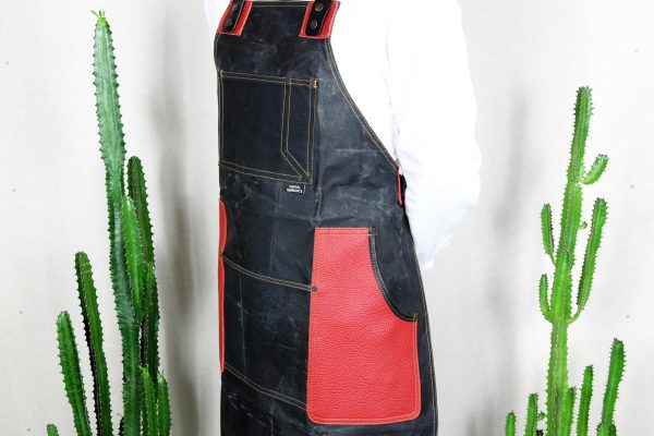 Waxed Canvas & Genuine Leather ''Chuck'' Apron RR - 5